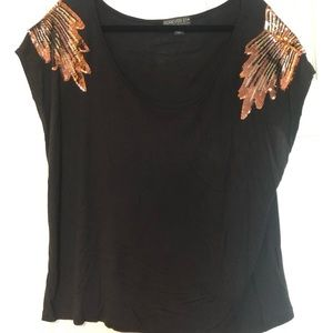 Forever21 shoulder sequined Top 2X